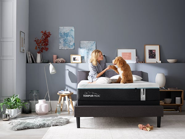 woman on tempur-pedic bed with dog