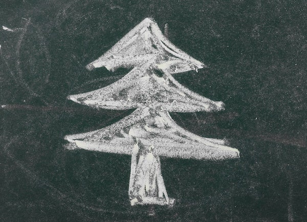 christmas tree on chalkboard