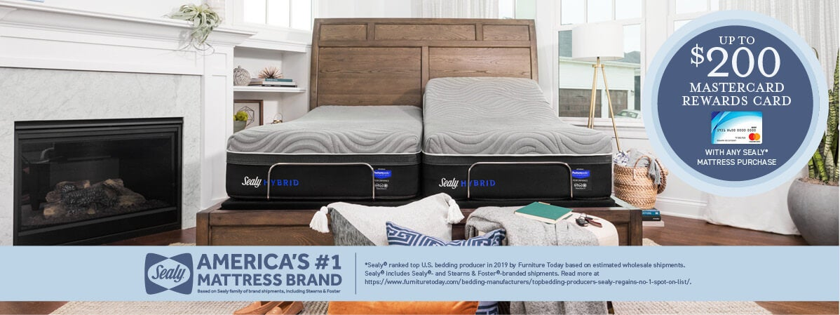 Up To a $200 MasterCard Rewards Card with any Sealy mattress purchase.