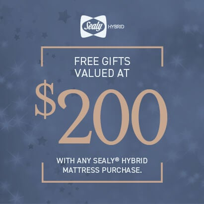 Receive 2 Free Cloud Cooling Pillows with Sealy Hybrid Mattress Purchase.