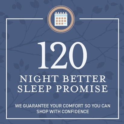 120 night better sleep promise. We guarantee your comfort so you can shop with confidence.