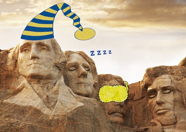 mt rushmore with sleeping presidents